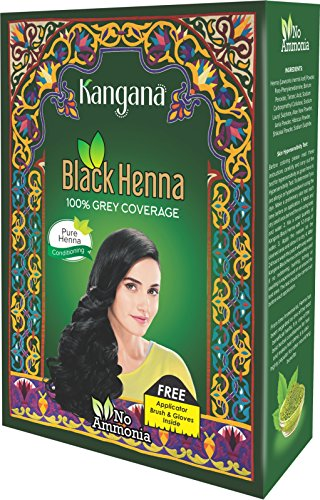 Kangana Black Henna Powder for 100% Grey Coverage - Natural Black Henna Powder for Hair Dye/Color Pack of 6-60g (2.11 Oz)