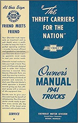 1941 CHEVROLET TRUCK OWNER INSTRUCTION MANUAL 41 CHEVY OWNER/'S MANUAL