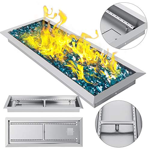 (VEVOR 25.5 Inch Fire Pit Pan Stainless Steel Linear Trough Drop-in Fire Pit Pan Rectangular Table Top Fire Pit Fire Bowl, 90k BTU, Double Burner)