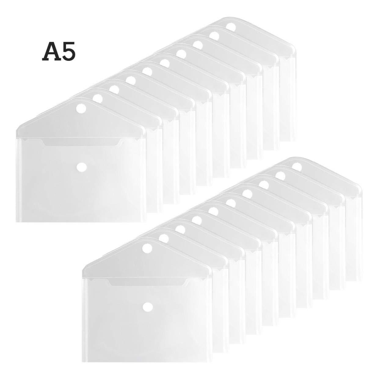 TIENO A5 Hook & Loop Closure Envelopes Clear Side Loading Pocket Durable Receipt Bill Office Bulk Organize 20PCS