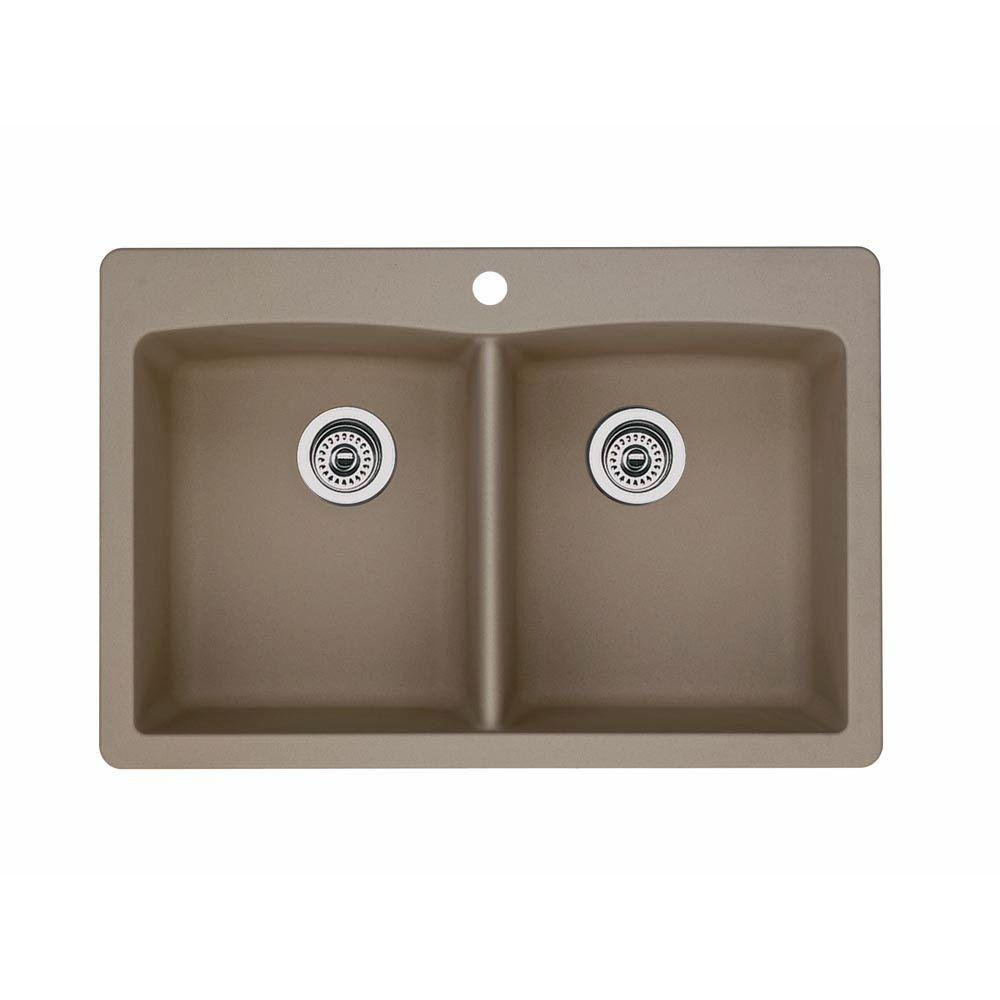 Blanco 441285 Diamond Double-Basin Drop-In Granite Kitchen Sink, Truffle