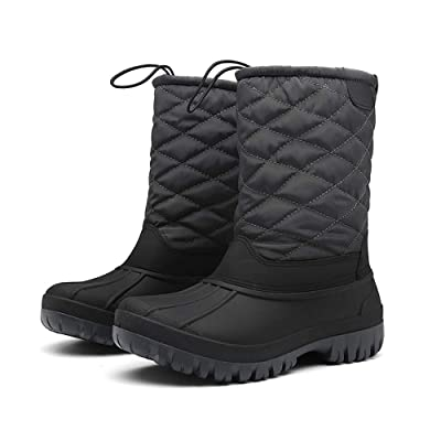 FULORIS Winter Snow Boots Drawstring Waterproof Non-Slip Fur Warm Lightweight for Outdoor Anti-Skid Rubber Sole. | Snow Boots