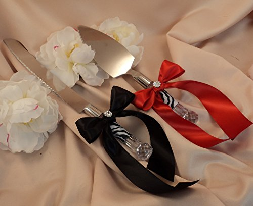 Zehui High-grade Romantic Cake knife shovels Ribbon Bowknot for Wedding and Party Black+Dark red by Zehui (Image #1)