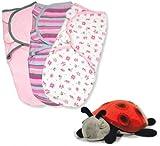 Summer Infant SwaddleMe Cotton Small 3-Pack with Cloud B Constellation Twilight Ladybug Night Light, Girly Bug