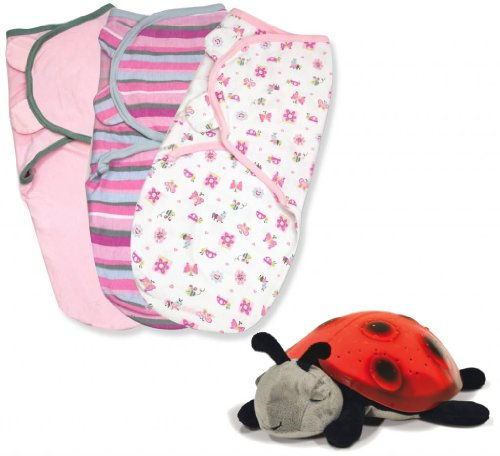 Summer Infant SwaddleMe Cotton Small 3-Pack with Cloud B Constellation Twilight Ladybug Night Light, Girly Bug