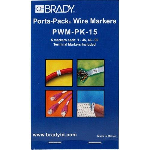 Vinyl Cloth Porta Pack - Brady PWM-PK-15, 31215 Vinyl Cloth Porta-Pack Wire Marker, Legend - 1 thru 45, 46 thru 90, (10 Packs of 10 pcs)