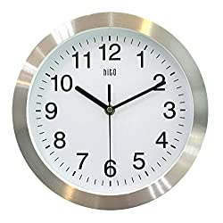 HITO Silent Non-ticking Wall Clock- Metal Frame Glass Cover, 10 inches (Silver)