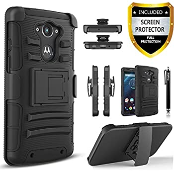 Droid Turbo Case, Motorola Droid Turbo Case, Combo Rugged Shell Cover Holster with Built