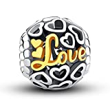 Glamulet Gold Love Hearts Openwork Charm 925 Sterling Silver Bead Fits for Bracelet As Christmas Gift