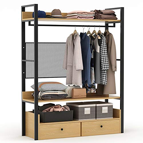 Tribesigns Free-Standing Closet Organizer,Heavy Duty Clothes Rack with 6 Shelves and Handing Bar, Large Closet Storage Stytem & Closet Garment Shelves (Walnut)