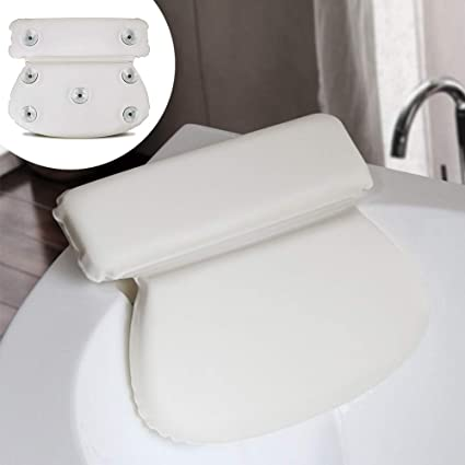 Spa Pillow, Bath Pillow with Non-Slip Suction Cups, Ergonomic Home Spa Headrest PU Sponge Neck Support Cushion for Bathtub, Hot Tub, Jacuzzi (White)