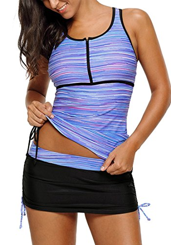 b76f1ec3b8c05 luvamia Women's 2 Pieces Print Zip Front Racerback Tankini Set Swimsuits  With Skirt