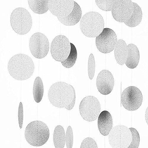Oyep TM 26Ft Pack of 2set Circle Dots Paper Garland for Room Party Decorations - Gold,Glitter (Silver)