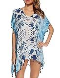 spaghetti strap geometric bikini - Aifer Women's Pom Pom Tassel Chiffon Kaftan Beachwear Pullover Bikini Swimsuit Cover Up