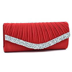 Satin Pleated Rhinestone Accented Clutch.