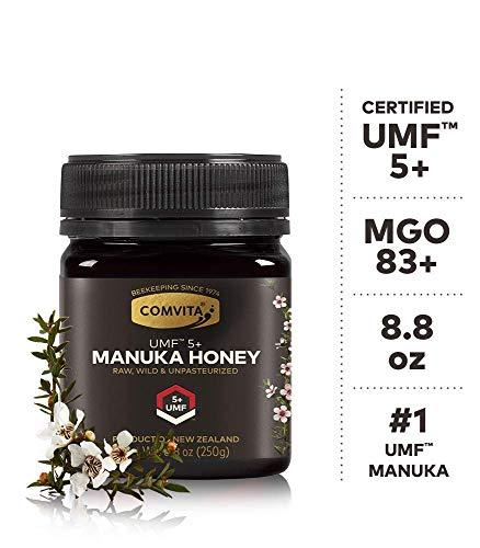 (Comvita Certified UMF 5+ (MGO 83+) Raw Manuka Honey I New Zealand's #1 Manuka Brand I Authentic, Wild, Unpasteurized, Non-GMO Superfood for Daily Wellness I 8.8 oz)
