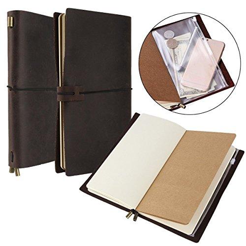 Shalleen Wanderings Leather Traveler's Notebook Journal Refillable Blank Diary (Locked Diary For Girls Monogram)