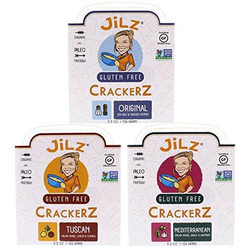 Jilz Gluten Free - Gluten Free Crackerz, Paleo Variety 3 Pack (Tuscan, Mediterranean & Cracked Pepper with Sea Salt, 5.5 oz)