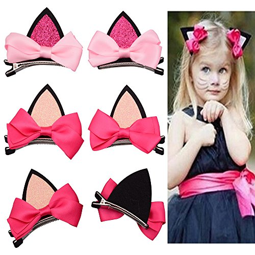 CellElection 2 Pairs Cute Kitten Baby Girls' Cat Ears Hair Bows Alligator Clips for Daily Wearing and Party Decoration