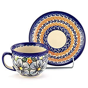 Polish Pottery, Handpainted and Handcrafted Ceramic Cup with Saucer 200ml _ Blue Flowers Artistic Pattern (A506)
