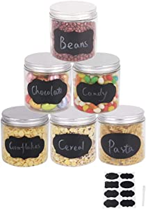 BPFY 6 Pack 16 oz Straight Sided Jars, Glass Jars With Lids, Glass Kitchen Canisters Cabinet, Pantry Organization, Food Storage Jars for Flour, Sugar, Coffee, Candy, Snacks, 8 Chalk Labels, 1 Pen