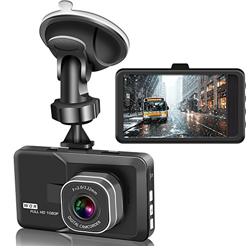 Actionpie Dash Cam X1LD, Full HD 1080P Car DVR Dashboard Camera, Loop Recording, WDR, Motion Detection, Park Monitor (black)