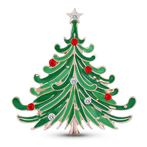 - Gloria Trend Stunning Bling Crystal Rhinestone Christmas Tree Pin Brooch