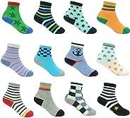 12 Pairs Kids Non Slip Skid Socks Grips Sticky Slippery Cotton Crew Socks For 1-3/3-5/5-7 Years Old Children Y