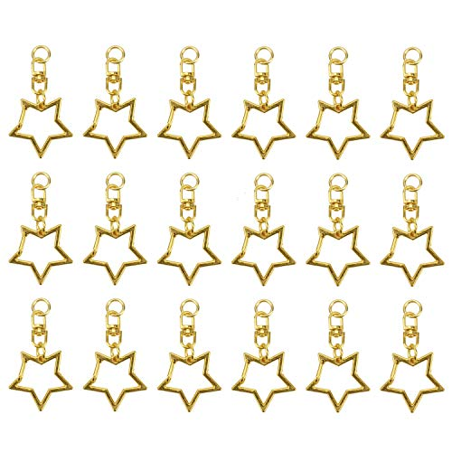 JETEHO 30 PCS Gold Star Keychain Clip Metal Spring Snap Pentagram Hanging Buckle DIY Key Chains Accessories (Star Key Ring)