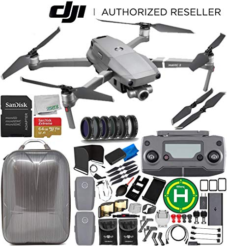 DJI Mavic 2 Zoom Drone Quadcopter with 24-48mm Optical Zoom Camera 2-Battery 64GB Ultimate Bundle