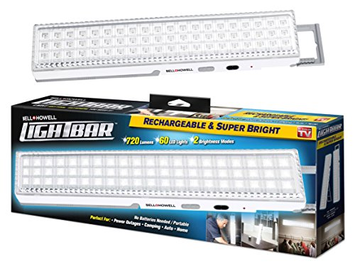 Bell + Howell Light Bar 60 LEDs with Super Bright 720 Lumen Output - All Day Power, Rechargeable with Auto Light Sensor, XL 16.5