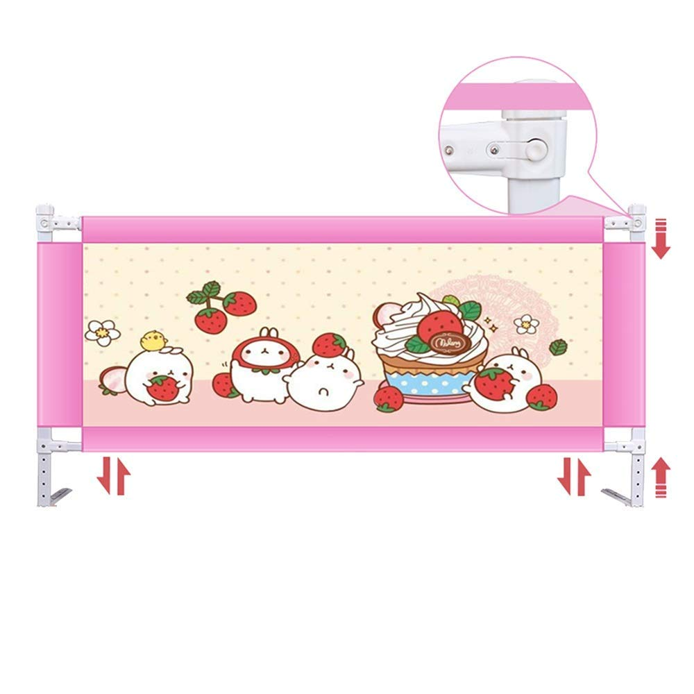 Bed Rail Portable and Stable Bed Guardrail Baby Safety Bed, 150, 180, 200 cm (Blue and Pink) (Color : Pink, Size : L-150cm)