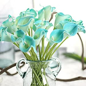 Yezijin Fake flower, 6 PC Artificial Touch Calla Lily Fake Flower Wedding Home Decor Bouquet 62