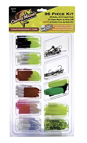Crappie Magnet 96-Piece Kit - 80 Bodies, 2 E-Z Floats, 6 Crappie Magnet Jig Heads, 8 Double Cross Jig ()