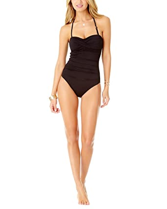 c700cb63db2 Anne Cole Black Twist Front Bandeau ONE Piece at Amazon Women's Clothing  store: