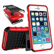 Apple iPhone SE Case 2016 Release, Crosstree Slim Rugged Durable Protective Case with Kickstand for iPhone 5S/5 Case (Black/Red)