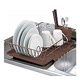 Home Basics 3-Piece Kitchen Sink Dish Drainer Set White, Bronze (BRONZE)