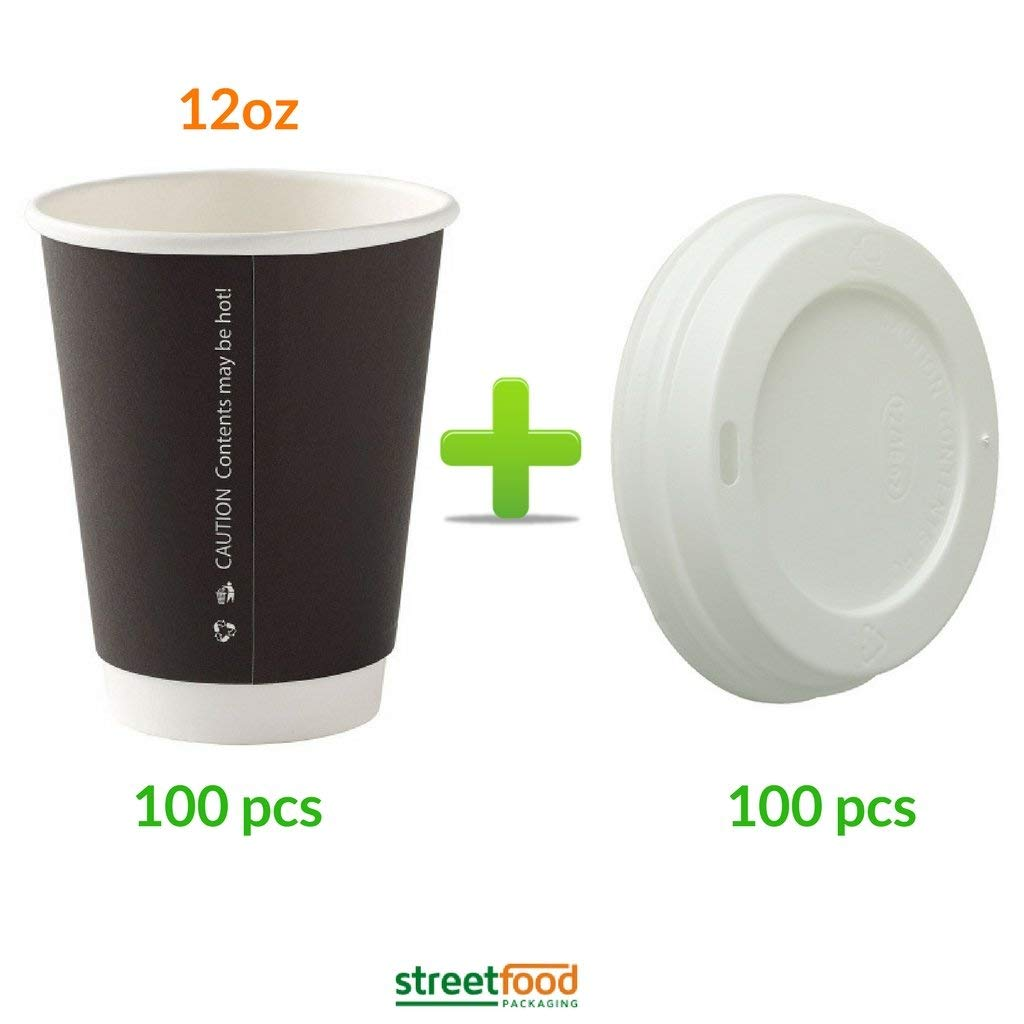 12oz Black Corrugated Wall Coffee Cup