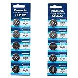 Panasonic CR2032 3V Lithium Battery 2PACK X (5PC) =10 Single Use Batteries