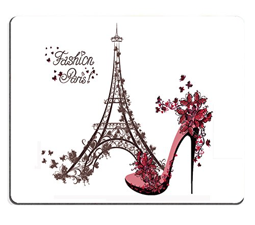 Wknoon Mouse Pad Fashion Paris Abtract Eiffel Tower Sketch Awesome Floral High Heels with Flowers Butterflies Custom Design, 9.5 X 7.9 Inch (240mmX200mmX3mm)
