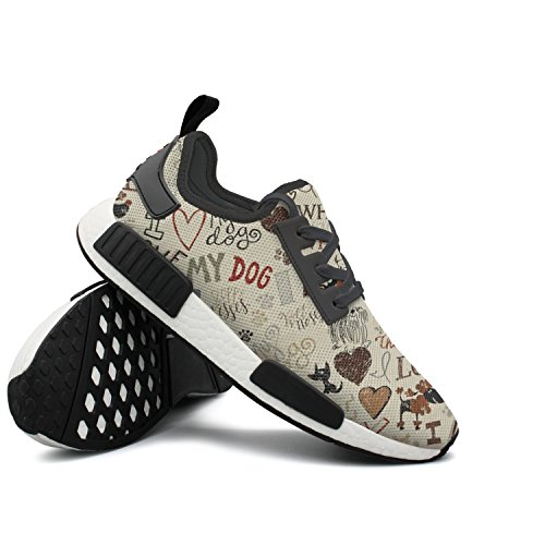 Price comparison product image CVOIREWKLL I Love My Dog Fun Words Shock Absorption Classic Stylish Print Hiking Shoes