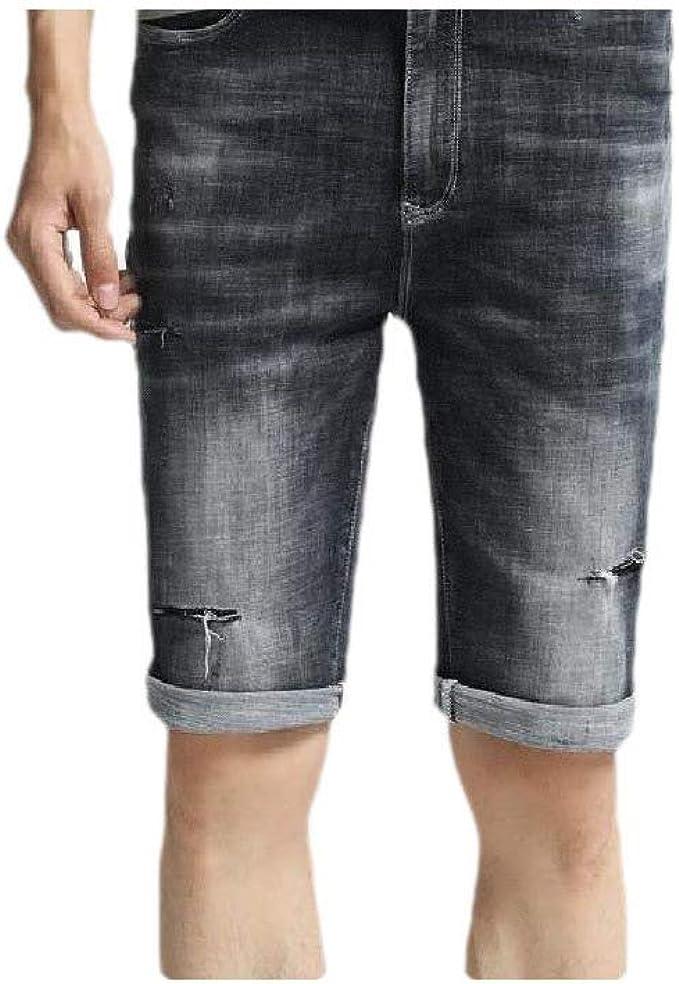 Candiyer メンズホールソリッドパーソナライズされた伸縮性ファブリック薄いポケットジャンショートパンツ