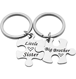 AKTAP Brother Keychain Sibling Jewelry Gift for Brother or Sister Family Jewelry Sister Gifts