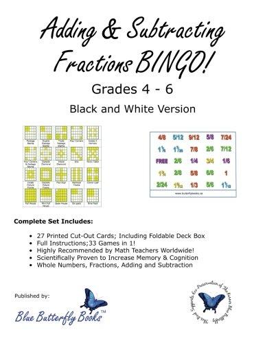 Amazon.com: Adding & Subtracting Fractions BINGO! (Black & White ...