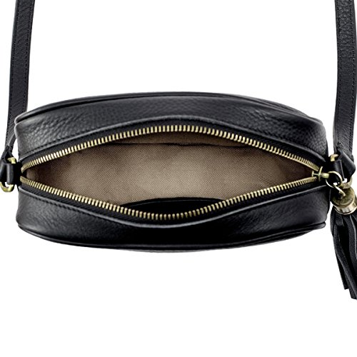 Small Type Black Leather Genuine Woman's Shoping Shoulder Black 421 Strap Purse Skin Leathario Bag qf8vT