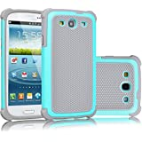 Galaxy S3 Case, Tekcoo(TM) [Tmajor Series] [Turquoise/Grey] Shock Absorbing Hybrid Rubber Plastic Impact Defender Rugged Slim Hard Case Cover Shell For Samsung Galaxy S3 S III I9300 GS3 All Carriers