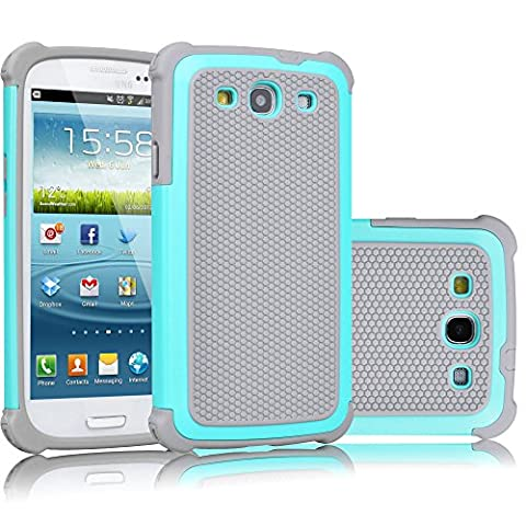 Galaxy S3 Case, Tekcoo(TM) [Tmajor Series] [Turquoise/Grey] Shock Absorbing Hybrid Rubber Plastic Impact Defender Rugged Slim Hard Case Cover Shell For Samsung Galaxy S3 S III I9300 GS3 All (Galaxy S3 Phone Cases Samsung)