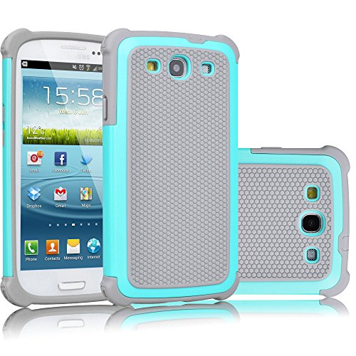 Galaxy S3 Case, Tekcoo(TM) [Tmajor Series] [Turquoise/Grey] Shock Absorbing Hybrid Rubber Plastic Impact Defender Rugged Slim Hard Case Cover Shell for Samsung Galaxy S3 S III I9300 GS3 All Carriers -