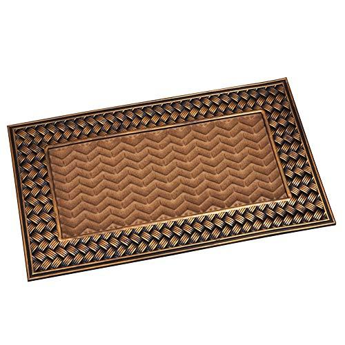 Collections Etc Gilded Basket Weave Door Mat for Indoor or Outdoor Use