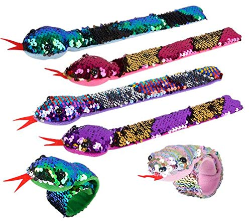 6 Piece Reversible Flip Sequin Snake Slap Bracelets for Kids ()